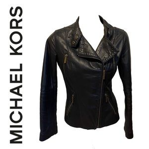 MICHAEL KORS genuine leather fully lined jacket